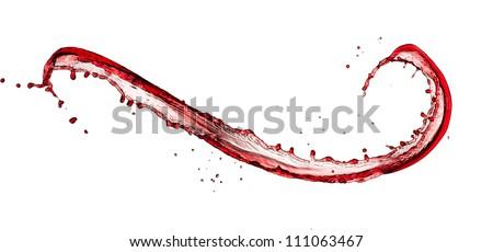 Red wine splash, isolated on white background - stock photo