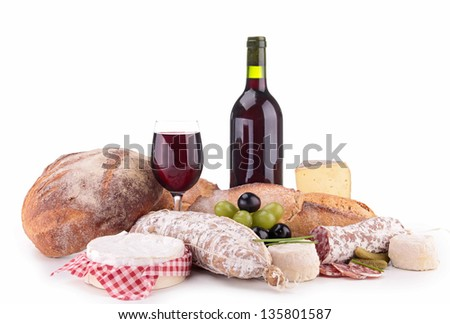 red wine with cheese and sausage - stock photo