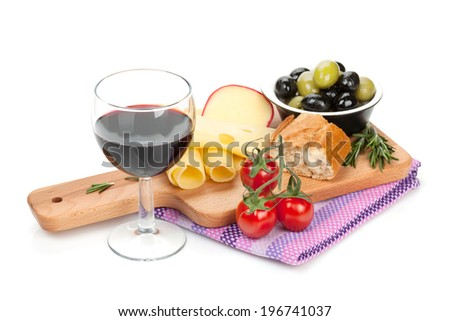 Red wine with cheese, bread, olives and spices. Isolated on white background - stock photo