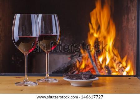 red wine with dark chocolate - stock photo