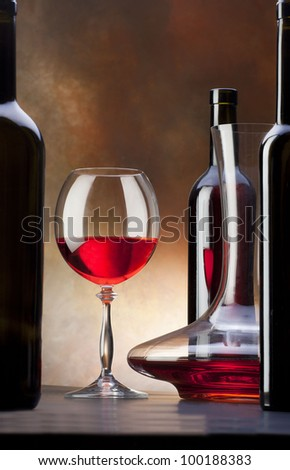 red wine with glass and decanter - stock photo