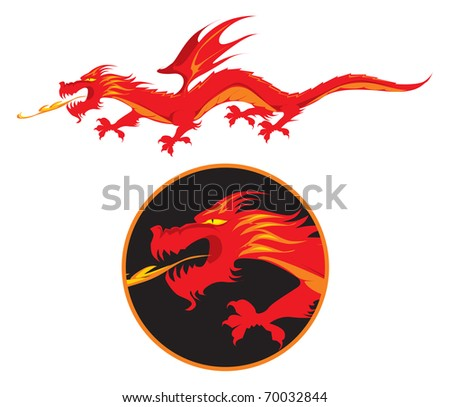 Red winged fire-spitting dragon. Raster version. Vector version is also available. - stock photo