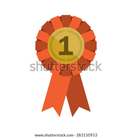 Red winner rosette. Badge with ribbons icon. Red ribbons award for winner. Red label with ribbons isolated on white background. Flat design illustration - stock photo