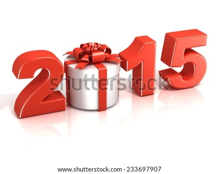 Red 2015, with round present box, New Year concept. 3D render illustration isolated on white background. - stock photo