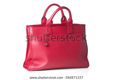 Red woman bag on white background  - stock photo