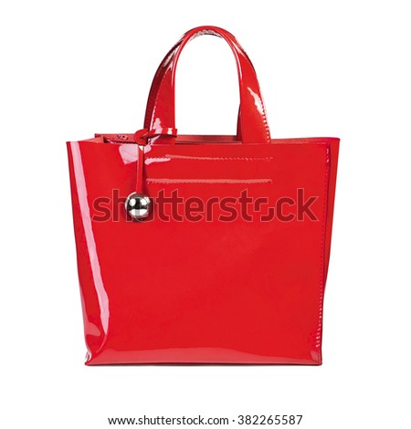 Red women bag isolated on white background