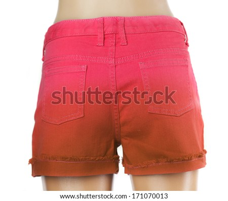 Red women jeans shorts. Back.  Isolated on white background - stock photo
