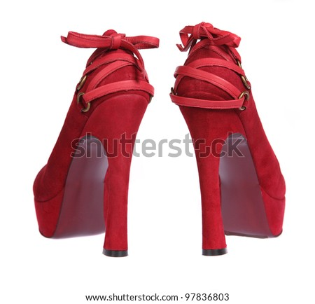 Red women shoes isolated on white background - stock photo