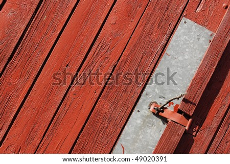 red wood door - stock photo