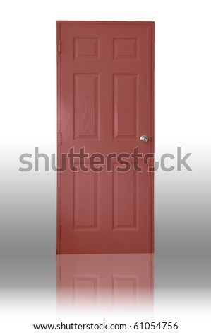 Red wood door with shadow - stock photo