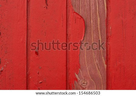 Red Wood with damaged Paint - stock photo