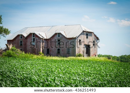 Red Wooden Barn - stock photo