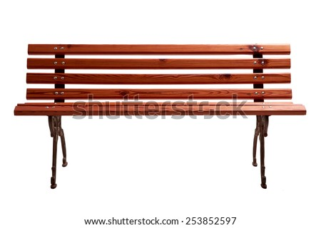 Red Wooden Park Bench Isolated on White Background. Front View of a Classic Park Bench made of wood and iron. - stock photo