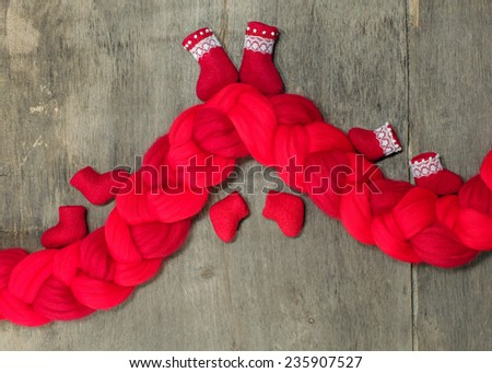 red wool for felting - stock photo