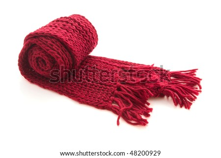 Red wool knitted scarf isolated on white - stock photo