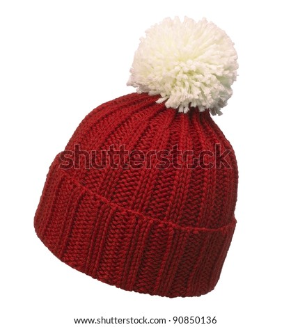 red woolen hat - stock photo