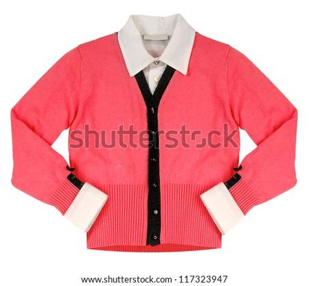 red woolen jacket - stock photo