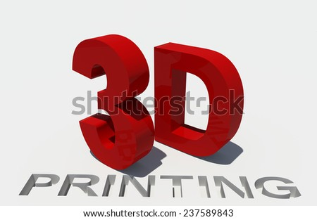 red word 3d printing - red text and white background - technology construction future - printers - stock photo