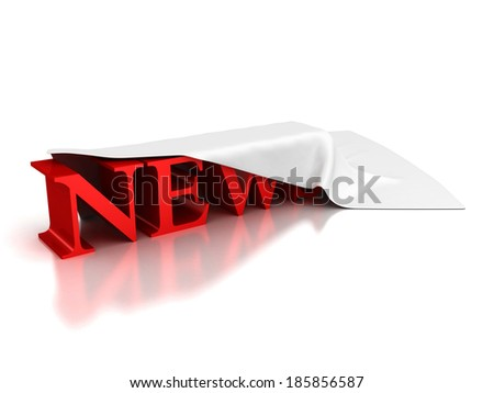 red word NEWS under cloth cover on white background.3d render illustration - stock photo