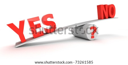 "Red words ""Yes"" and ""No"" on the scales - stock photo"