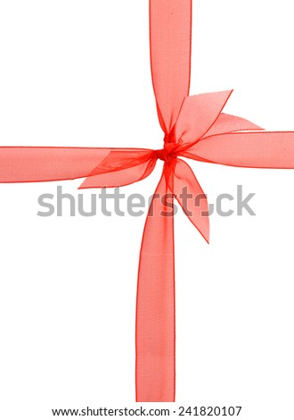 Red wrapping ribbon to decorate gifts isolated on white background  - stock photo