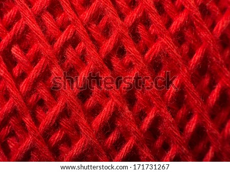 Red yarn close up background - stock photo