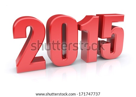 Red 2015 year on a white background. 3d rendered image - stock photo