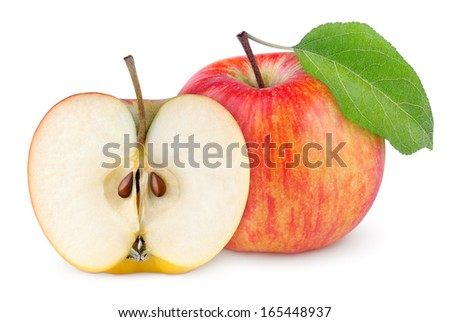 Red yellow apple with green leaf and half isolated on white background - stock photo