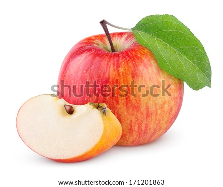 Red yellow apple with green leaf and slice isolated on white background - stock photo