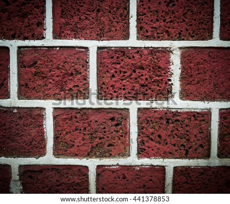 Red yellow beige tan fine brick wall texture background, large horizontal copy space - stock photo