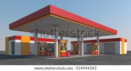 Red/yellow gas station against the sky - stock photo