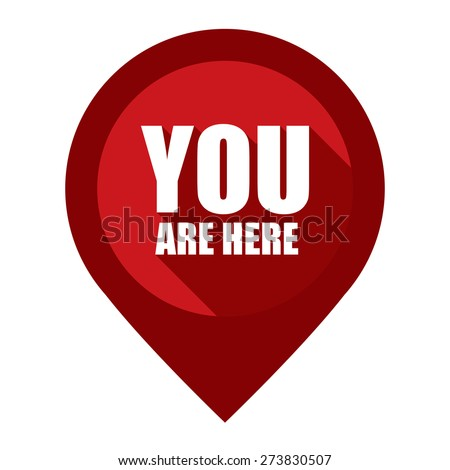 Red You Are Here Map Pointer Icon Isolated on White Background  - stock photo