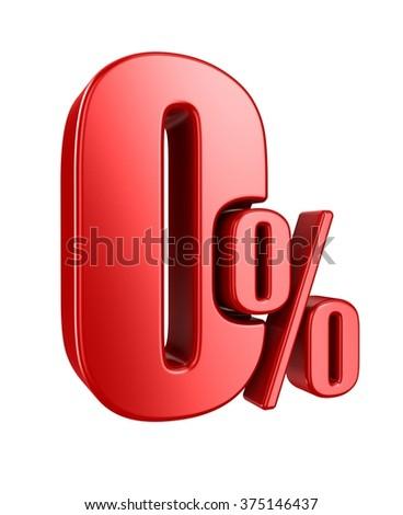 Red zero percent, isolated on white background. - stock photo