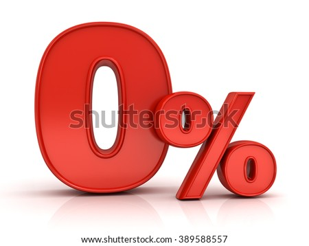 Red zero percent or 0 % isolated over white background with reflection - stock photo