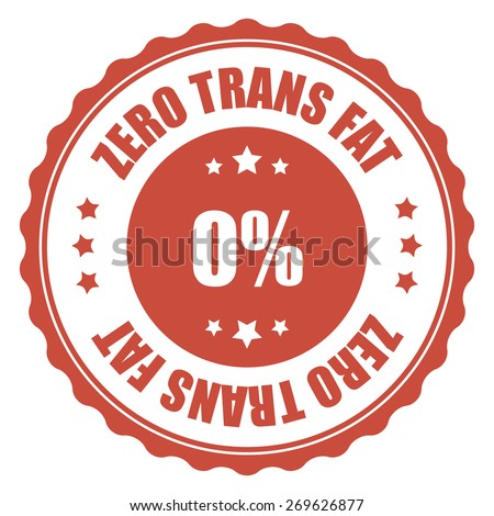 red zero trans fat sticker, tag, sign, icon, label isolated on white - stock photo