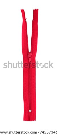 Red zipper isolated on white - stock photo