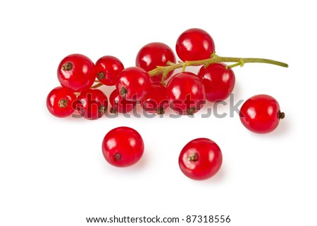 Redcurrant isolated on white background - stock photo
