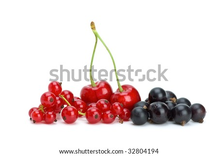 Redcurrants,blackcurrants and red cherries isolated on the white background - stock photo