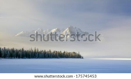 Redfish Lake in Idaho winter with fog - stock photo