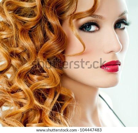 redhead beauty - stock photo