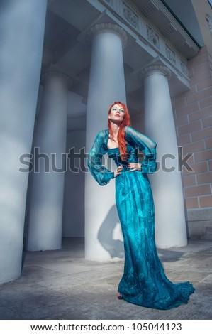 Redhead beauty posing - stock photo