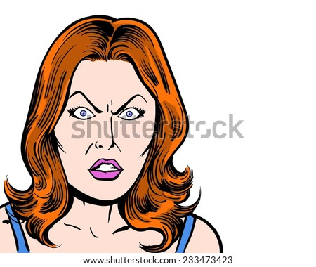 redhead comic pop art character angry with white background - stock photo