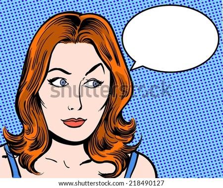 redhead comic pop art character looking sideways with speech bubble - stock photo