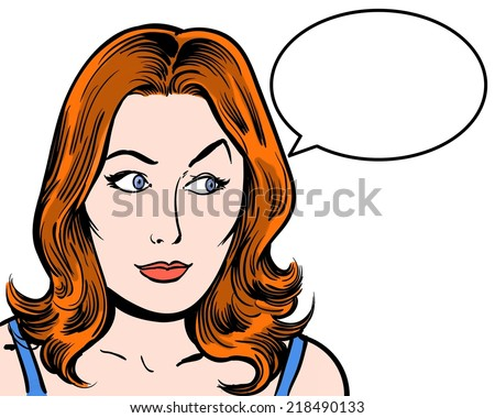 redhead comic pop art character looking sideways with speech bubble white background - stock photo
