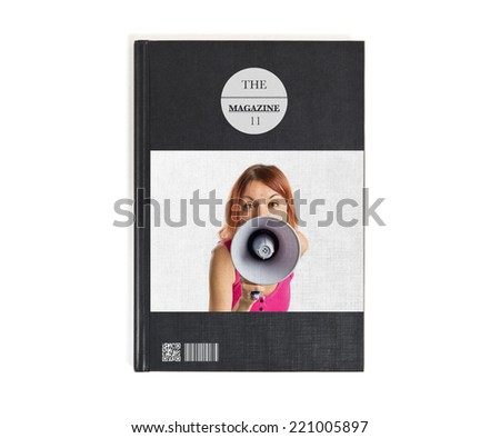 Redhead girl shouting with a megaphone printed on book - stock photo