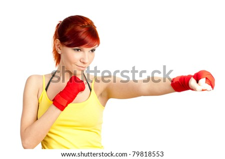 Redheaded boxing girl isolated on white - stock photo