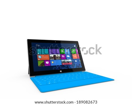 REDMOND, WASHINGTON (USA) - 24 APRIL 2014 - Microsoft Surface tablet on display. Microsoft's CEO Satya Nadella sees a chance for Microsoft to growth in the tablet market, Nadella told. - stock photo