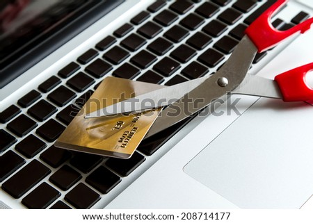 Reduce expenses with the credit card  - stock photo