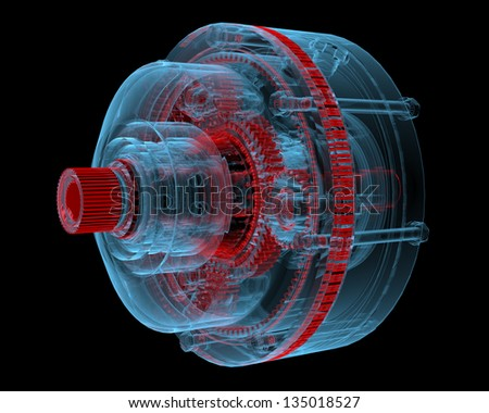 Reducer (3D xray red and blue transparent isolated on black background) - stock photo