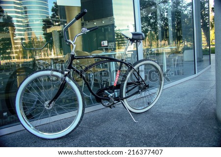 REDWOOD CITY, CA, USA - SEPT 24, 2008: Bycicle for employee moving inside Oracle campus located in Redwood City, CA, USA on Sept 24, 2008. Oracle is a multinational information technology corporation  - stock photo
